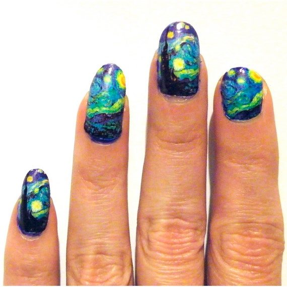 Nail Art Night: Nail Polish Art Nails Starry Night Van Gogh Women By