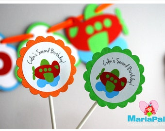 Plane Party  Cupcake toppers, Plane and clouds party  A999