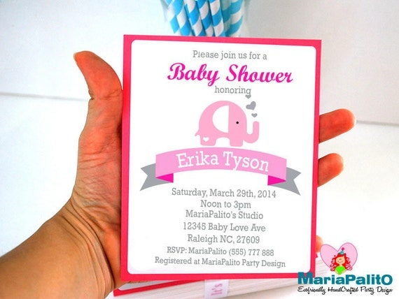 Elephant Baby Shower invitations, Set of 12 Handmade Invitations A955