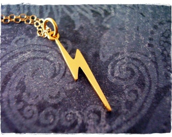Tiny Matte Gold Lightning Bolt Necklace - Tiny Matte 24kt Gold Plate Lightning Bolt Charm on a 14kt Gold Filled Cable Chain or Charm Only
