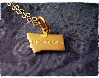Tiny Gold Montana State Necklace - Raw Brass Montana State Charm on a Delicate 14kt Gold Filled Cable Chain or Charm Only