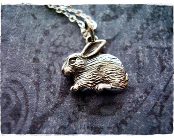 Silver Rabbit Necklace - Sterling Silver Rabbit Charm on a Delicate Sterling Silver Cable Chain or Charm Only
