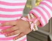 Girls Pearl and Grosgrain Bracelet