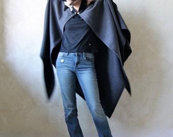 Medieval cape, Wool cloak, Wool cape, Grey cloak, Plus size clothing, Winter cape, Long cape, Grey coat, LARP, Maternity coat, Womens Cape