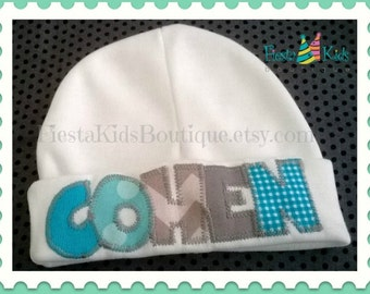 Baby beanie hat etsy baby hat with name baby beanie hat infant hats boys newborn hats negle Choice Image