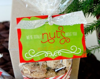 Christmas PRINTABLE Neighbor Gift Tags 'Nuts About You' (INSTANT DOWNLOAD) by Love The Day