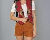 Vintage Southwestern Vest 80s Aztec Tribal Tapestry Open Front Vest S M