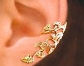 Art Nouveau Stream flower ear cuff Gold earrings Art Nouveau jewelry Art Nouveau earrings Art Nouveau ear cuff clip Gold ear cuff C-064G