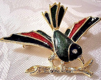 Blue Green Red Glaze Bird Branch Pin Brooch Gold Tone Vintage Raised Ribbed Stripes Crystal Faceted Eyes Sharp Curved Nose