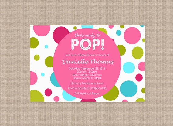 about to pop baby shower invitations in pink by honeyprint on etsy