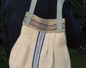 Blue Stripe Bag Purse.  Liberty Print Lining. Medium. Vintage Fabric. Lightweight