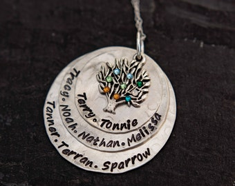 Sterling Silver Hand Stamped Family Tree Necklace - Hand Stamped Mother Necklace -Tree Necklace-Grandmother Necklace