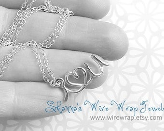 I Love You Valentines Necklace in Sterling Silver