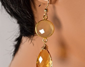 LP 1098   Honey Colored Chalcedony And Sparkling Citrine Teardrop Earrings