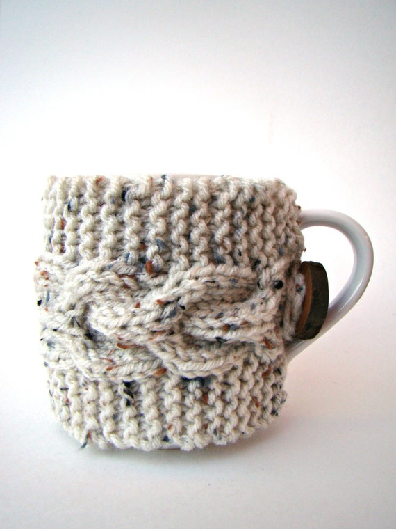 Knitting Pattern For Mug Sweater : Ivory Knit Cup Cozy with Cable Pattern Mug Sweater by ...