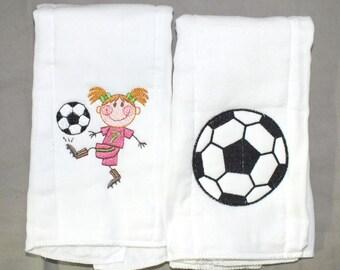 Baby girl soccer burp cloths sports burp cloth personalized burp cloth baby girl burp cloth