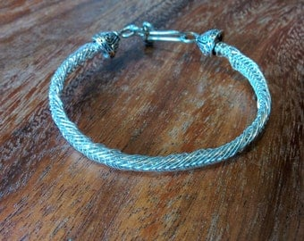 """7"""" Mermaid Braid Silver Plated Wire Bracelet with Spiral Wrap Hook"""