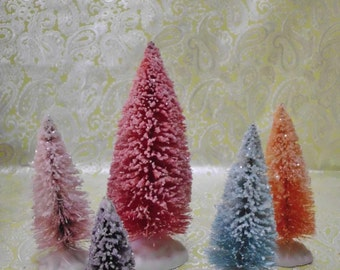 Vintage Inspired Hand Dyed and Glitter Dusted SNOW Bottle Brush Trees Set of 5 MANY LISTED Set #5