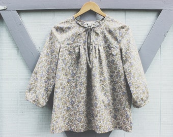 Floral Lawn Malin Pullover - Made with Japanese cotton lawn fabric - Made to order