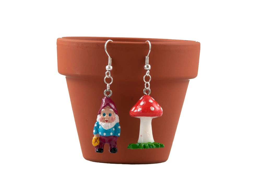 Gnome and Toadstool Earrings Odd Pair
