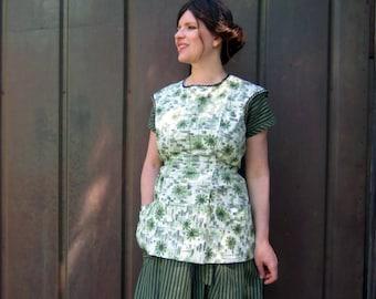 vintage 50s apron top cotton utility apron green M/L