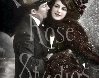 A Winter Couple-French Postcard Digital Download