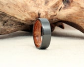 Black Zirconium Wooden Ring Lined with Exhibition Curly Koa