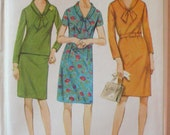 Women's 1960's Simple to Sew One or Two Piece Dress Sewing Pattern - Simplicity 7223 - Size 12, Bust 32, Uncut