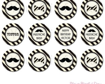 PRINTABLE Personalized Mustache Bash Party Circles #110
