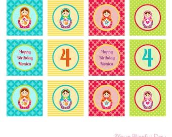 Matryoshka Doll Party Circles | Russian Nesting Doll Cupcake Toppers | PRINTABLE Matryoshka Doll Cupcake Toppers #551