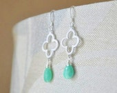 Sterling Silver Four-leaf Clover Earrings with Green Chrysoprase Gemstones- Feminine Dainty, Delicate, Wire Wrapped, St Patricks Day