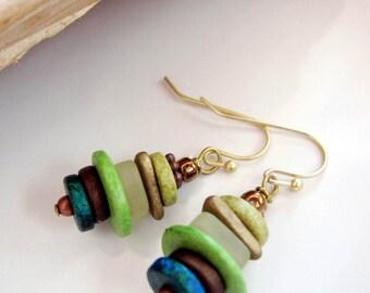 Sage Green Ceramic Earrings, Sea Glass Earrings, Bohemian, Frosted Glass, Stacking Earrings, Beach Jewelry