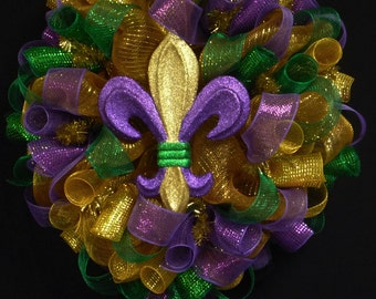 Mardi Gras Wreath, Fleur de Lis Wreath, Mardi Gras Decor (1000)