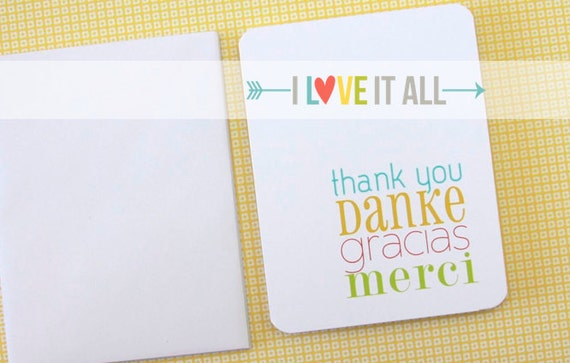 International Thank You Card . Danke Merci Gracias . Multilingual . German French Spanish English . Gratitude Note Stationery Folded A2