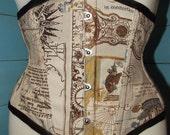 SALE item. Steampunk corset map print under bust. UK size 6
