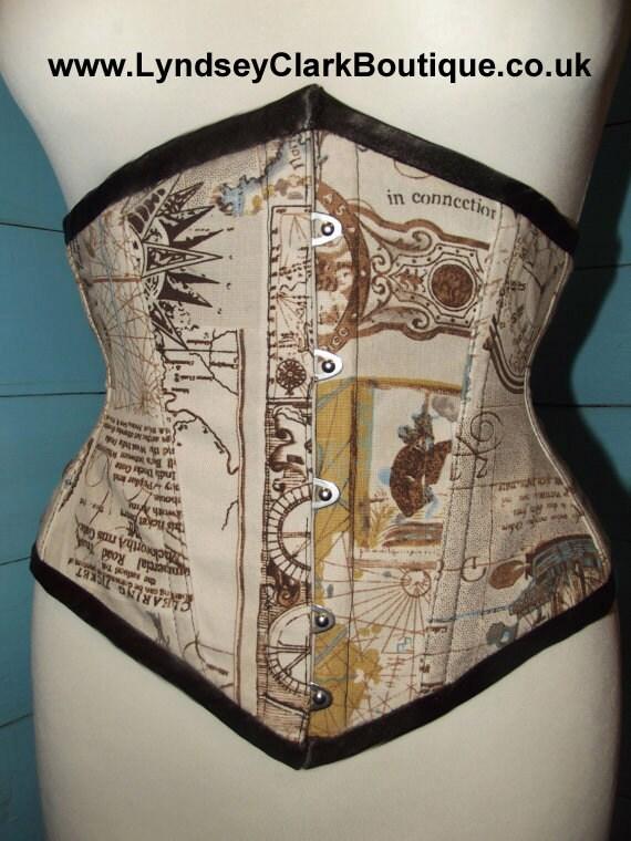 Steampunk corset map print under bust. UK size 6