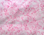 Pink Rose Print Floral Fabric 1 1/2 Yards X0320