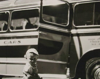 Vintage Photograph - Toddler Stood with a Coach