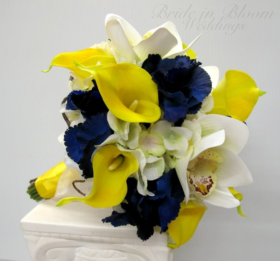 Wedding bouquet Yellow real touch calla lily white orchid navy bouquet