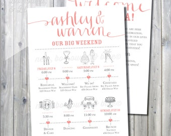 Printable Wedding Itinerary Timeline with Welcome Letter