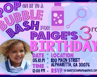 Girls Bubbles Birthday Party Invitation - Bubble Theme - Bubble Bash - Bubble Blow Out - Purple Pink
