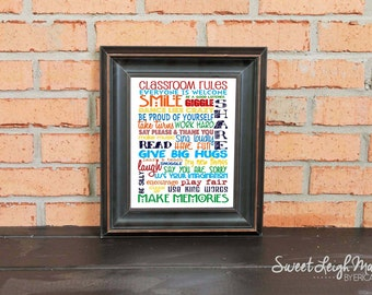 DIGITAL FILE - Classroom Rules – Classroom Art – Teacher Art - Teacher Gift – Sign – Student Art – Primary Colors – Students - Print