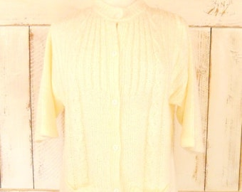 Vintage 50s ivory chunky knit cardigan sweater/off white cableknit sweater/medium/large