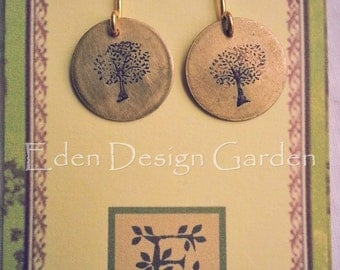 Etched brass disc earrings with trees