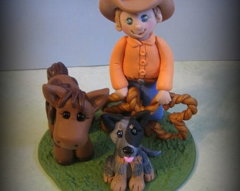 Cowboy, Pony, Dog, Birthday Cake Topper, Sculpture, Polymer Clay