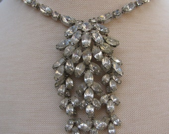 Beautiful 1960s Hollywood Regency Style Necklace Waterfall Rhinestones Marquis Cut Prom, Wedding, Bridal