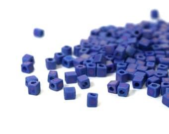4mm glass cube beads, blue cobalt frosted rainbow, Miyuki cubes, 200 beads (995SB)