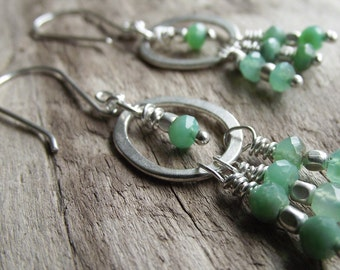 Chrysoprase Hill Tribe Silver Wire Wrapped Earrings - Dangle Earrings - Boho Earrings - Hill Tribe Silver Earrings