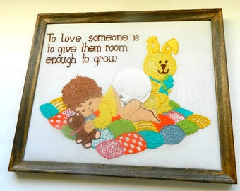 To love someone is to give them room enough to grow, finished crewel wall hanging baby nursery decor framed