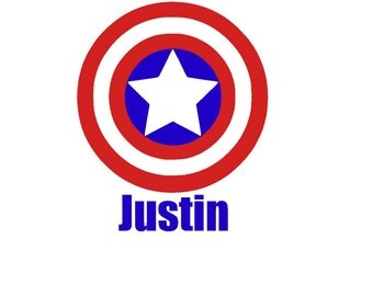 Personalized Captain America Iron On Vinyl Decal
